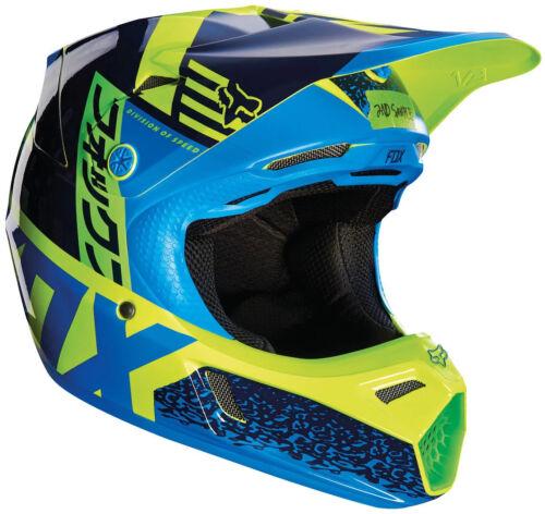 Youth Fox V3 Division Motocross Mx Helm - Blau/Grün Kinder Quad Bmx Mips