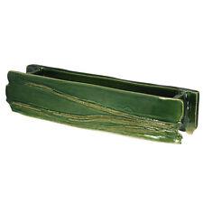 "Japanese Ikebana Vase 14.5""L Rustic Style Oblong Shape Green Ceramic /Made Japan"