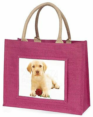 Gelb Labrador Welpen mit Rosé Große Rosa Einkaufstasche Weihnachten Vor,