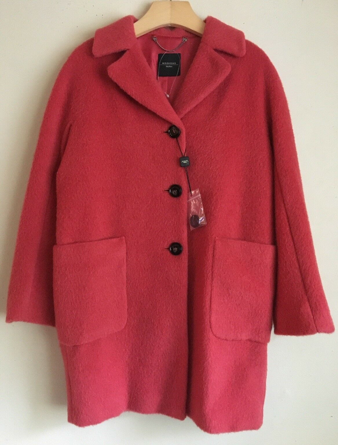NWT Weekend Max Mara Woman's Button Down Wool Alpaca Red Coat US Size 2