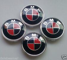 Pass For Bmw 4Pcs 68mm Red-Black CARBON Emblem Badge Hub Wheel Center Cap