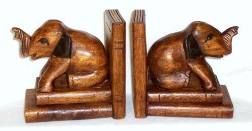 2 Holzbuchstützen Elefant sitzend Buchstützen Holzfigur Akazie Holz NEU