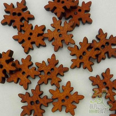 100 pcs brown wood snowflakes buttons lot 18x18MM craft/kids sewing 2 holes