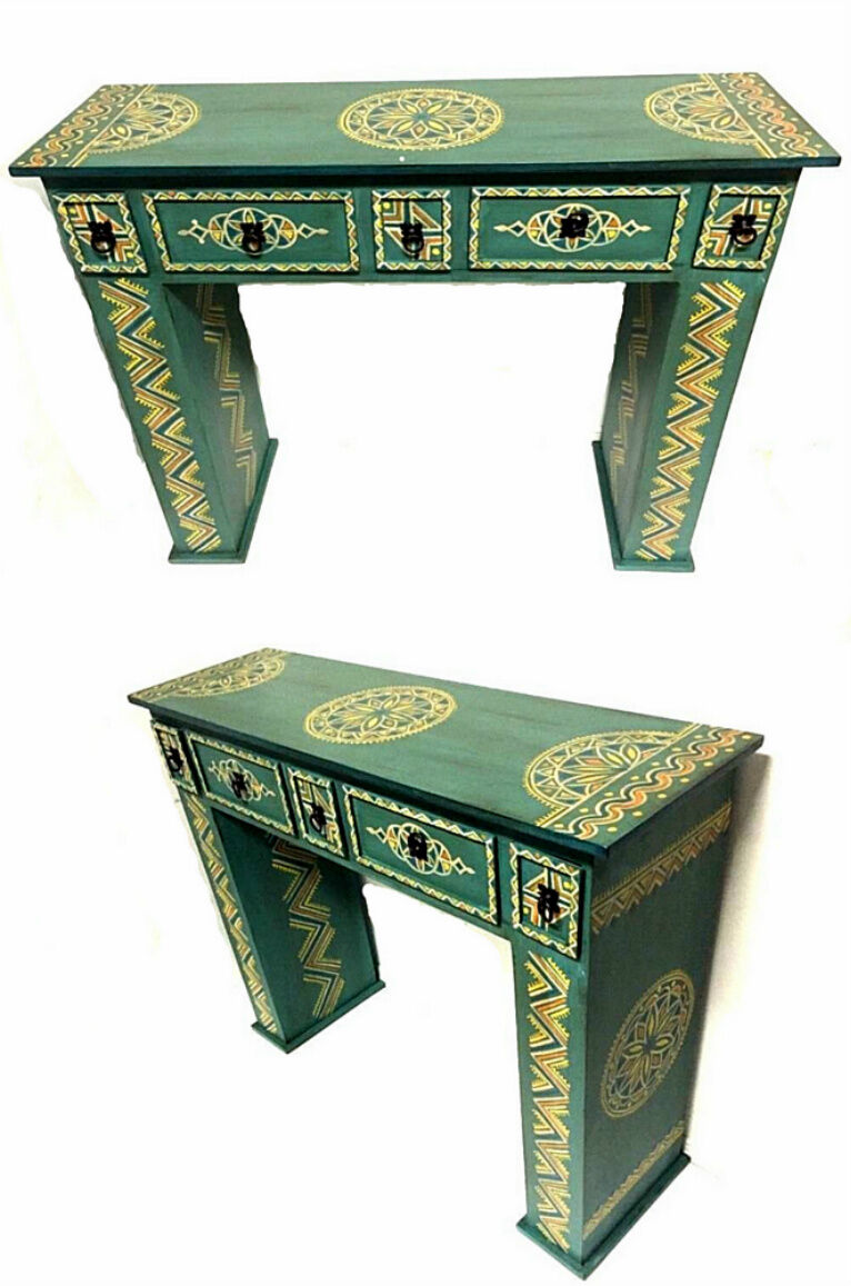 Details About Moroccan Handpainted Wood Console Hall Table Arabesque Furniture Drawer Green
