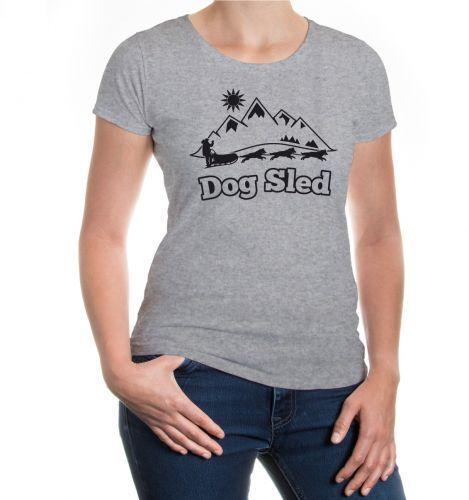 Damen Kurzarm Girlie T-Shirt Dog Sled-Signet Schlittenhunde Schlittenrennen