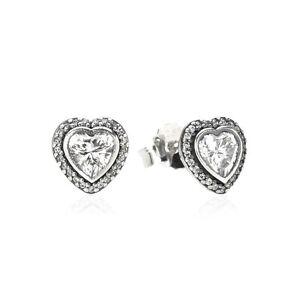 81b79dd7941cb Details about Authentic Pandora S925 ALE Sparkling Love Heart Stud Earrings  #290568CZ w/ BOX