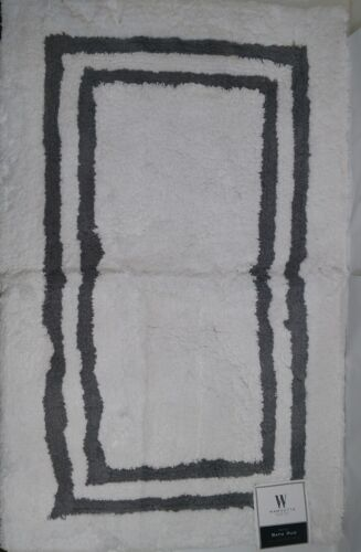 "WAMSUTTA  White Charcoal  21/"" x 31/"" Hotel style Bath Rug"