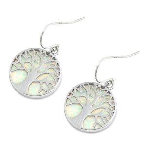 Stingray Earrings Blue Lab Opal Sterling Silver 925 Jewelry Height 20 mm