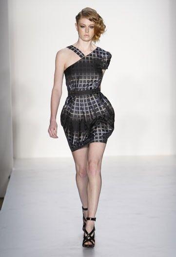 298 Walter Runway Ombre Grid Asymmetric Asymmetric Asymmetric Sleeve Dress fc0094