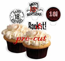 boys 18 birthday rock  X24 edible stand up cup cake toppers wafer paper *precut*