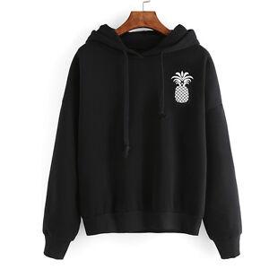 US Women Fashion Pineapple Print Tops Hooded Pullover Drawstring Sweatshirt Coat