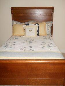 Image Is Loading Antique Oak Bedroom Suite Full Length Bed Dresser