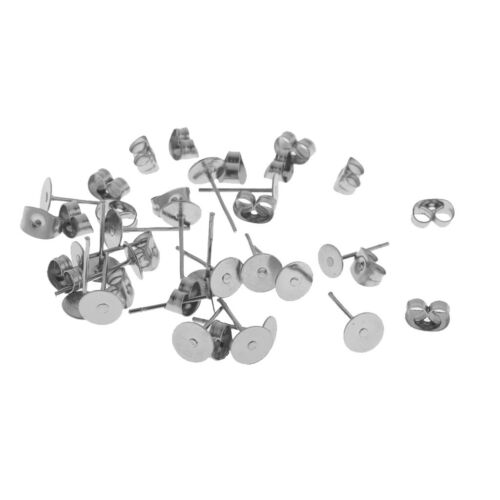 30 Pairs Stainless Steel Earring Pin Pad Post Stud Back Set Making Findings