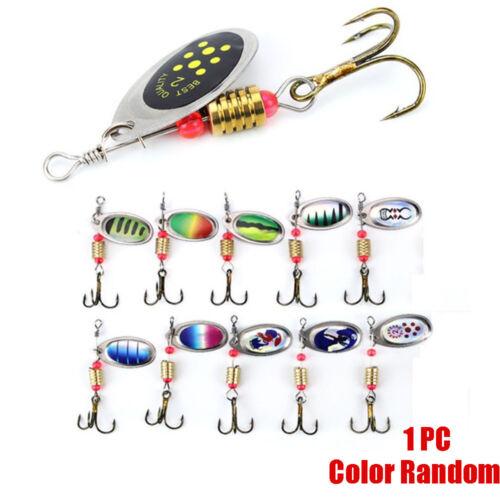 2.5g Durable Metal Sequins Fishing Lure Crank Bait Spoon Spinner Treble Hook