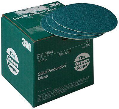 """100 discs 3M 01547 Green Corps Stikit Disc 6/"""" 40E"""