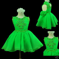 Infant & Girl National Pageant Formal Party Short Dress Lime Green 1-7 Years Old