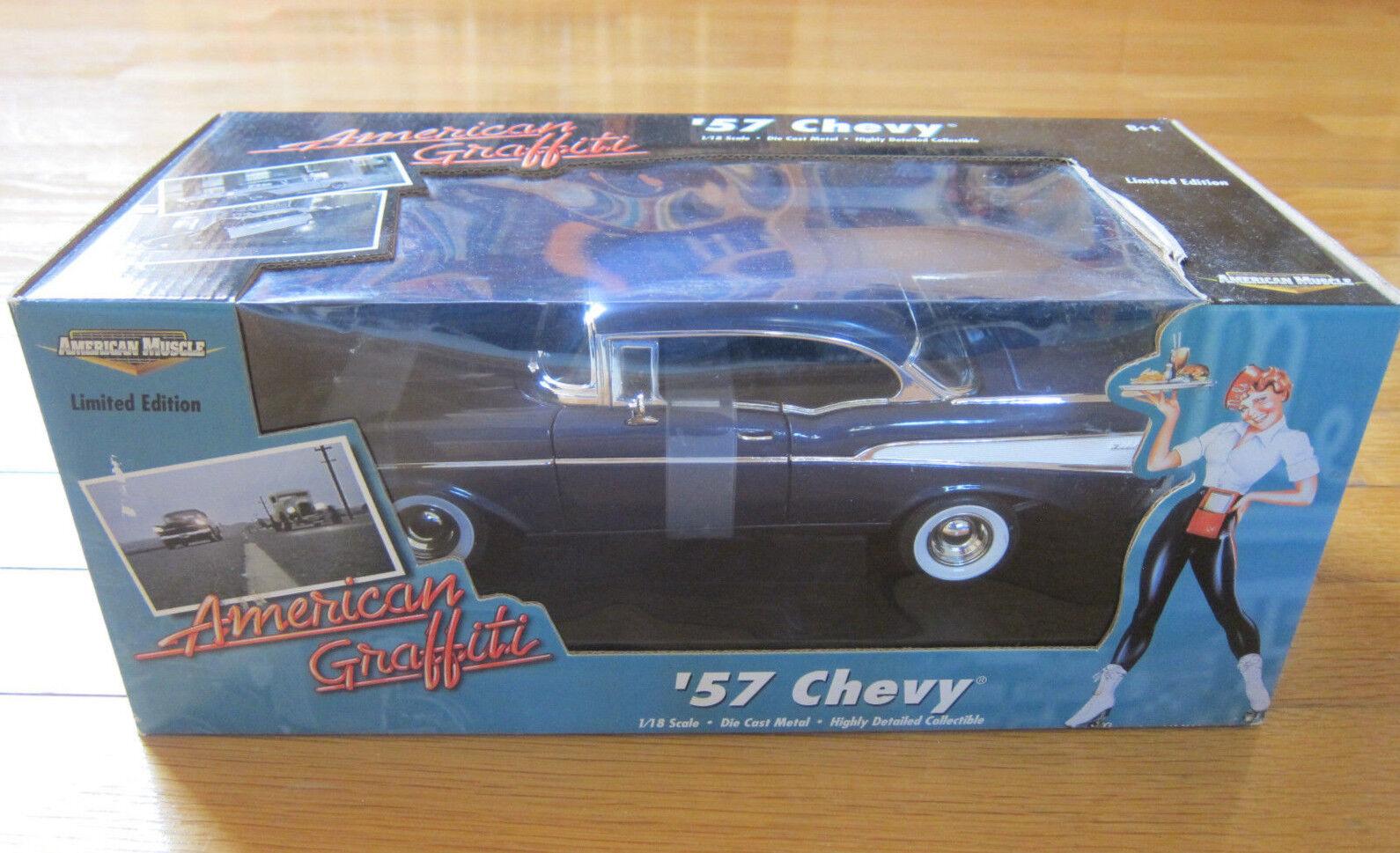 CHEVROLET 1957 2 portes 1 18 Diecast voiture modèle American Graffiti ERTL New in Box