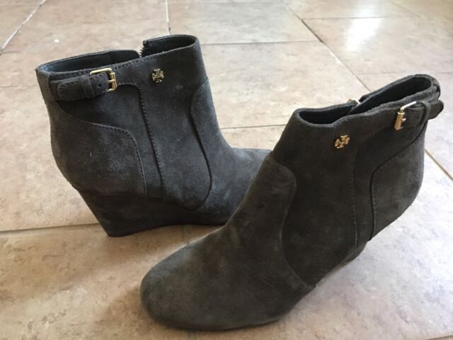 7d992c423e61c Tory Burch Milan Wedge Suede Bootie Ankle Boot Sz 8.5M Brown