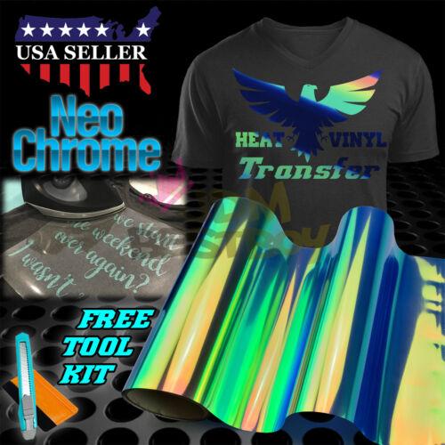 "Neo Chrome Blue Heat Transfer Vinyl HTV T-Shirt 20/"" Wide Roll Iron On Heat Press"