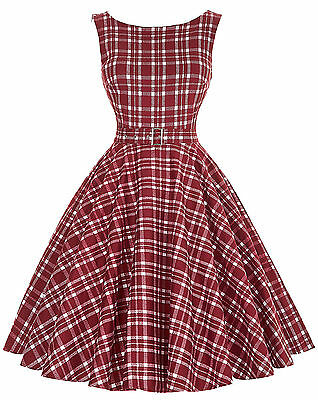 SUMMER Women's Vintage 50s Check Evening Party Cocktail Short Club Casual Dress