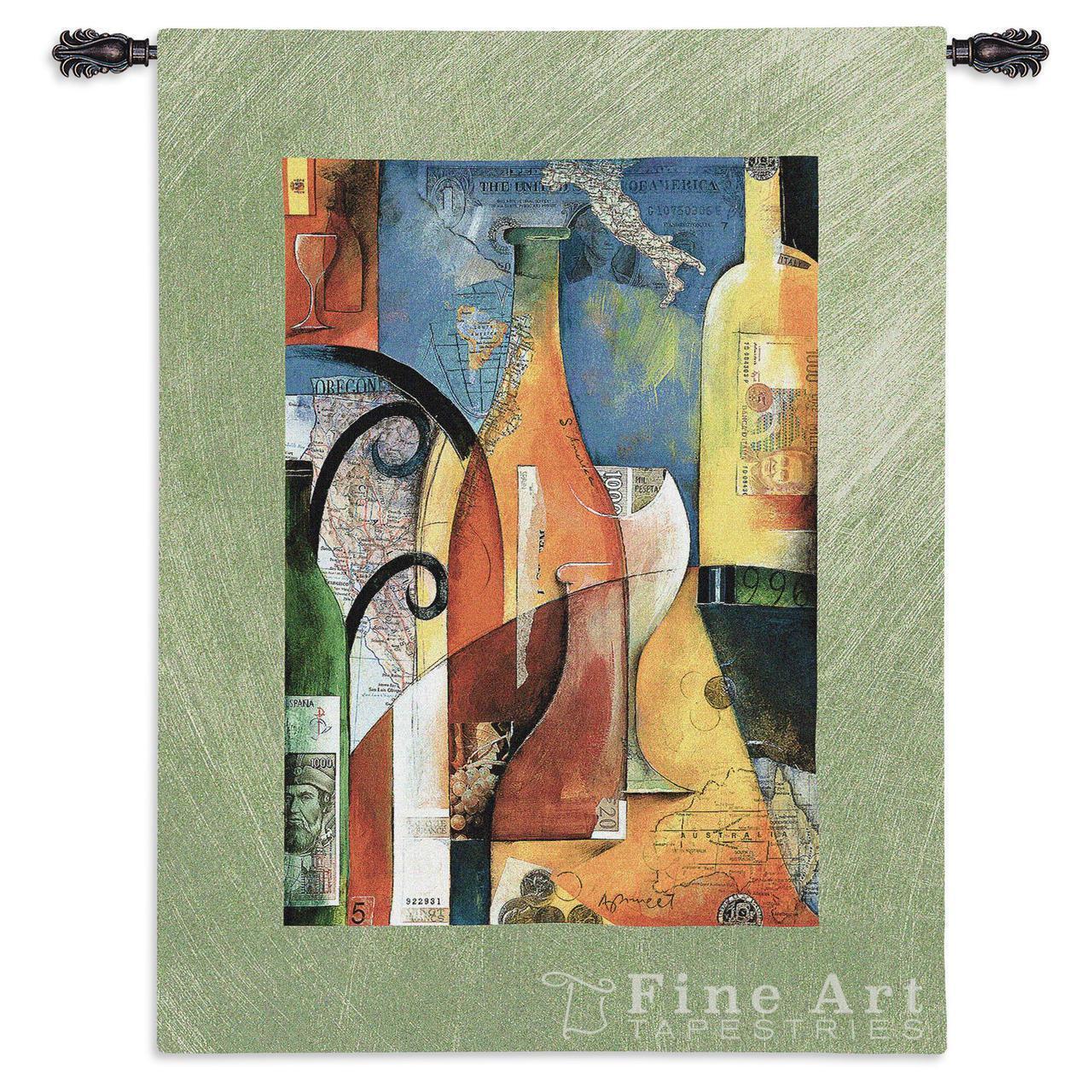 39x53 VINO Wine Vineyard Tapestry Wall Hanging