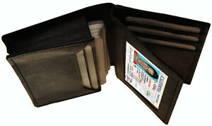 Mens-GENUINE-LEATHER-Bifold-Credit-Card-Expandable-Center-Flap-ID-Holder