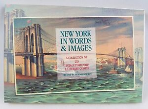 NEW-YORK-IN-WORDS-amp-IMAGES-Retro-1920-039-s-Postcard-Book-NEW-Statue-Of-Liberty