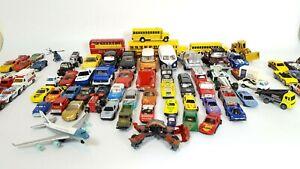 Lote-de-99-coches-de-fundicion-Camiones-Aviones-Matchbox-Hot-Wheels-Majorette-Corgi-Etc