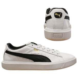 5635ebb71e61 Puma Breaker Leather Low Top Mens White Navy Lace Up Trainers 366078 ...