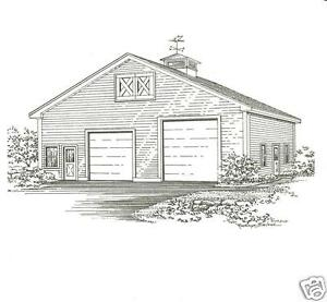 36 x 30 2 Bay FG Equipt or RV Garage Building Blueprint Plans