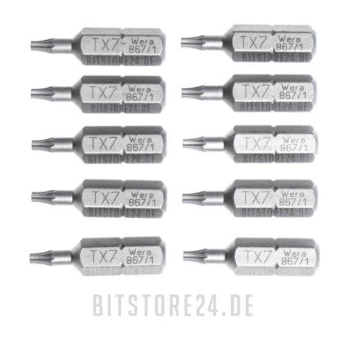 """zähhart T7 10x WERA 1//4/"""" Torx Bit in der Größe TX7 Bits, Biteinsatz"""