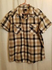 Mens-Shirt-J-Ferrar-Modern-Fit-XXL-Pearl-Western-Cowboy-Rodeo-Plaid-Rockabilly