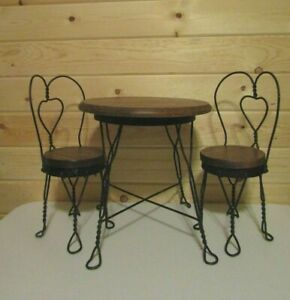 Image Is Loading Vintage Wrought Iron Amp Wood Parlor Bistro Table