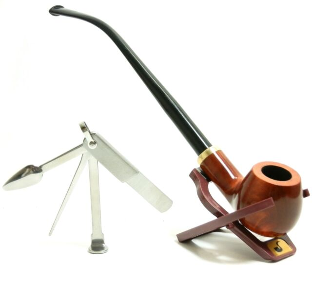 "Churchwarden Tobacco Pipe ""Set"",  With Stand & Czech Tamper - Hand Made Mr. Brog"