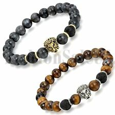 Men's Women Lava Tiger Eye Stone Lion Buddha Beaded Elastic Bracelet Bangle 2pcs