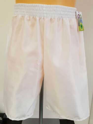 Nylon Satin Leisure Shorts with Pockets S White 4XL