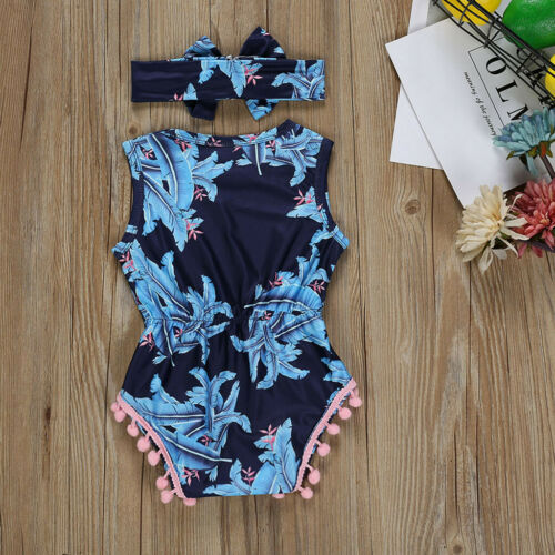 Newborn Baby Boy Girl Long Sleeve Solid Romper Jumpsuit Clothes+Headband Outfits