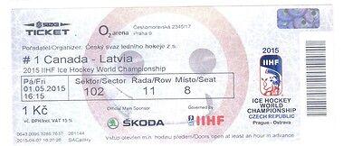 Hockey Ticket Canada Ice Hockey World Championchip 2015 Beautiful And Charming Latvia 01.05.2015