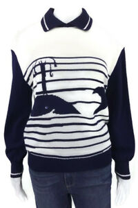 ST. JOHN COLLECTION BY MARIE NAVY BLUE/OPTIC WHALES PULLOVER JUMPER SZ S