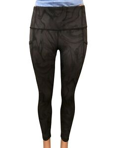 NEW-Active-Life-Women-039-s-Printed-Pocket-Tight-Black-Brown-Marble-Medium-89Retail