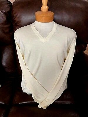 Men's Clothing L Long Sleeve Sweater $150val Easy To Use Clothing, Shoes & Accessories Precise New Nwt Pringle Soft Wool Off White Ivory Mens M