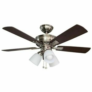 Hampton Bay Sinclair 44 In Led Indoor Brushed Nickel Ceiling Fan With Light Kit