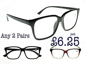 6208f47cce Details about 2 Pairs GEEK NERD Large Unisex Stylish Retro Reading Glasses  in 3 Colours TN44