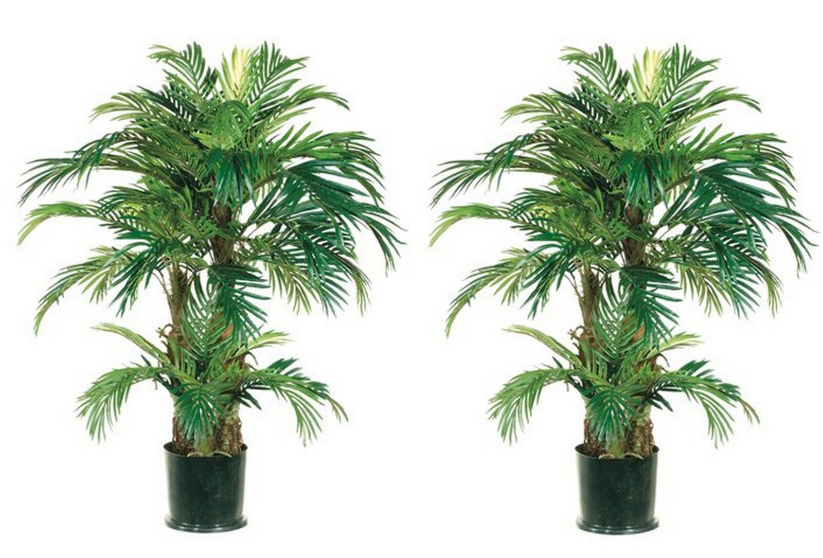 4' PHOENIX TRIPLE PALM ARTIFICIAL TREE SILK PLANT BUSH DECOR POTTED HOME DECOR 2