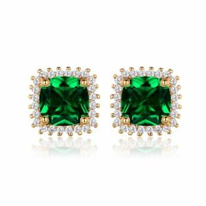 d70576fa33166 Details about 2.00ct Green Emerald Square & Sim Dia Halo Stud Earring  Silver 14k Rose Gold Fn