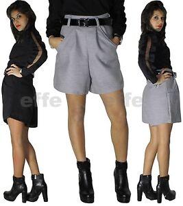 un'altra possibilità 45b03 af2ae Dettagli su pantaloncini donna lana invernali shorts vita alta nuovo 7831
