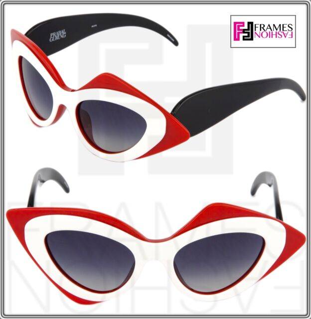 e7398b6ba072 Frequently bought together. LINDA FARROW Prabal Gurung Cat Eye Mask Black  White Red PG17 Sunglasses