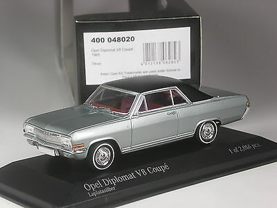 OPEL Diplomat v8 COUPE 1965 ARGENTO 1:43 Minichamps NUOVO /& OVP
