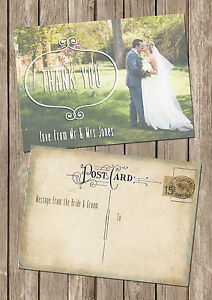 Image Is Loading Personalised Vintage Postcard Photo Wedding Thank You Cards