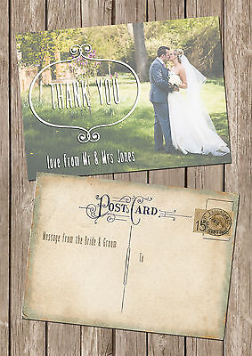 PERSONALISED VINTAGE POSTCARD PHOTO DOUBLE SIDED WEDDING THANK YOU CARDS